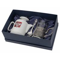 Чайный набор с подстаканником и фарфоровым чайником ЭГОИСТ-М, серебристый/белый