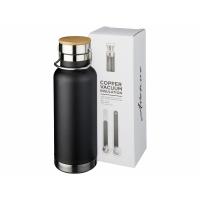 Медная спортивная бутылка с вакуумной изоляцией Thor объемом 480мл, черный