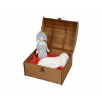 Набор: кукла-снегурочка, варежки Новогоднее настроение, белый/голубой