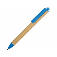 Ручка картонная пластиковая шариковая Эко 2.0, бежевый/голубой