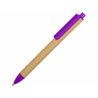 Ручка картонная пластиковая шариковая Эко 2.0, бежевый/фиолетовый