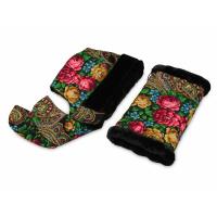 Подарочный набор: Павлопосадский капор, муфта, черный/разноцветный