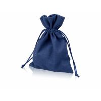 Мешочек подарочный, лен, средний, темно-синий