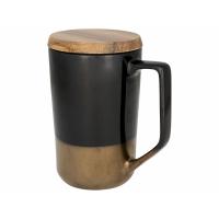 Керамическая кружка Tahoe для чая и кофе с деревянной крышкой, черный
