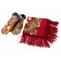 Подарочный набор: Павлопосадский платок, рукавицы