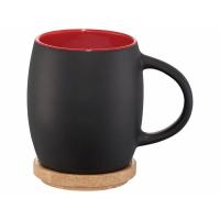Керамическая чашка Hearth с деревянной крышкой-костером, черный/красный