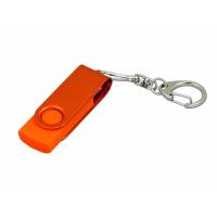 USB 3.0- флешка промо на 32 Гб с поворотным механизмом и однотонным металлическим клипом