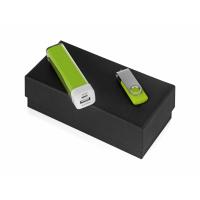 Подарочный набор Flashbank с флешкой и зарядным устройством, зеленый