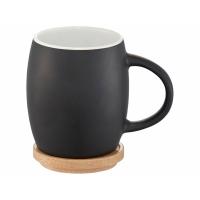 Керамическая чашка Hearth с деревянной крышкой-костером, черный/белый