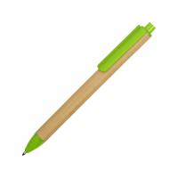 Ручка картонная пластиковая шариковая Эко 2.0, бежевый/зеленое яблоко