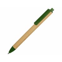 Ручка картонная пластиковая шариковая Эко 2.0, бежевый/зеленый